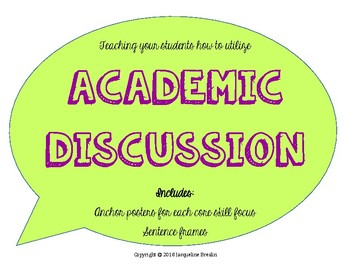 Academic Discussion Poster Set and Sentence Frames