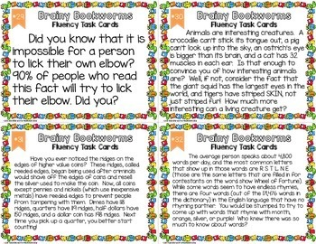 Academic Fun Fact Fluency Task Cards