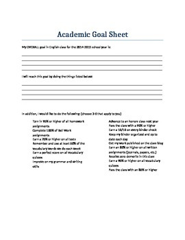 Academic Goal Sheet