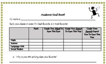 Back to School:  Academic Goal Sheet & Pledge Sheet