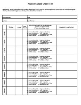 Academic Grade Check Form 6-8 Period Day