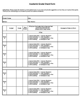 Academic Grade Check Form (A-B Block Schedule)