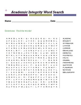 Academic Integrity Word Search