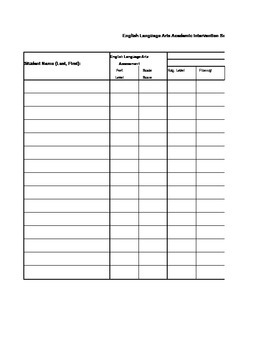 Academic Intervention Tracking Form