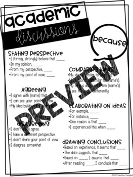 Accountable Talk - Sentence Stems with Posters