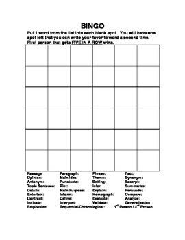 Academic Language Arts Vocabulary Packet