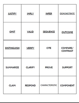 Academic Language Common Core Words: Set 2