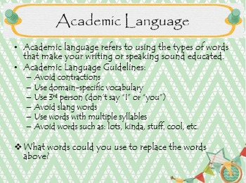 Academic Language PowerPoint and Worksheet