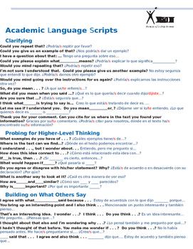 Academic Language Scripts in SPANISH AVID. Debate or Socratic Seminar in Spanish