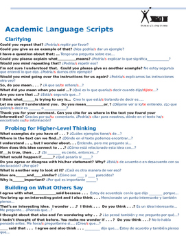 Academic Language Scripts in SPANISH AVID. Debate or Socra