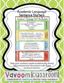 Academic Language Sentence Starters Poster
