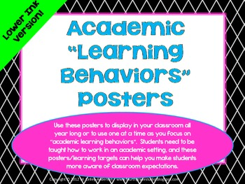 "Academic Learning Behaviors Posters ""Plus"" Lower Ink Version"