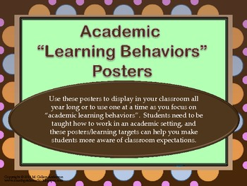 """Academic Learning Behaviors Posters """"Plus""""--chocolate/pastel dots"""
