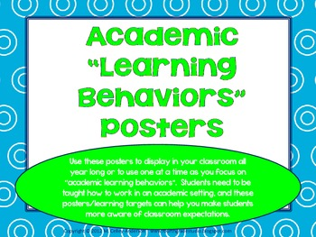 "Academic Learning Behaviors Posters ""Plus"" turquoise and lime"