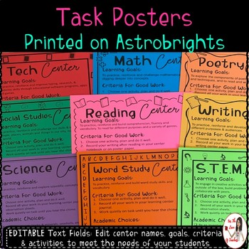 Academic Learning Centers Task Card Posters *EDITABLE*