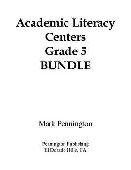 Academic Literacy Centers Grade 5 BUNDLE