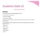 Academic Math 10 Measurement Quiz