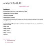 Academic Math 10 Measurement Test (Editable)