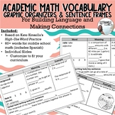 Academic Math Vocabulary Sentence Frames & Graphic Organizers (includes Spanish)