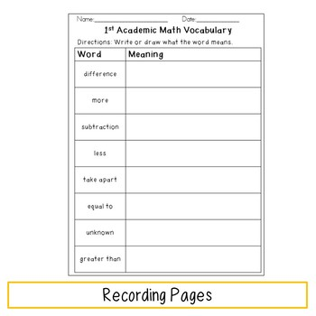 Academic Math Vocabulary Sorting