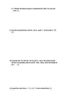 Academic Mathematics Grade 10 Final Exam ( MPM2D )