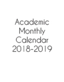 Academic Monthly Calendar July 2018 - June 2019