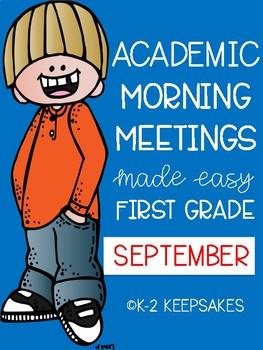 Academic Morning Meetings First Grade SEPTEMBER