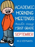 Academic Morning Meetings First Grade SEPTEMBER