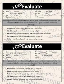 Academic Objective Sentence Stem Cards