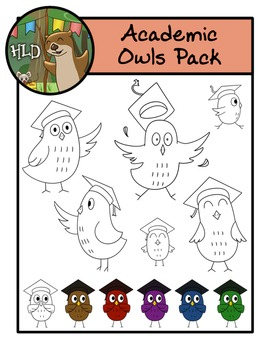 Academic Owls Rainbow Mega Pack -Clipart