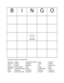 Academic Reading Vocabulary Bingo Review