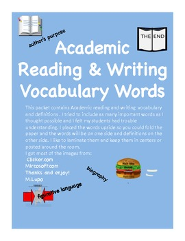 Academic Reading & Writing Vocabulary / Word Wall Cards  Common Core
