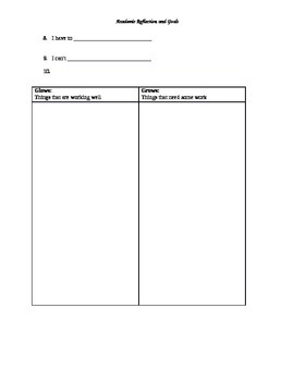 Academic Reflection Worksheet