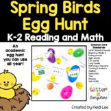 Reading and Math Spring Birds Egg Hunt   Kindergarten and First Grade