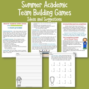 Academic Summer Games Freebie