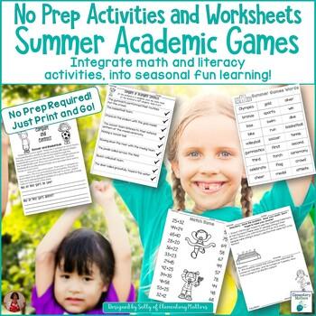 Academic Summer Games No Prep Activities