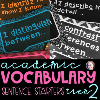 Academic Vocabulary Anchor Chart Sentence Frames Chalkboard