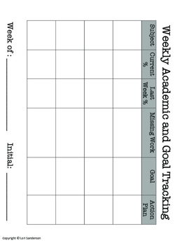 Academic Tracking Sheets