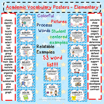 Academic Vocab (Process) Over 50 WORDS!!! Posters!