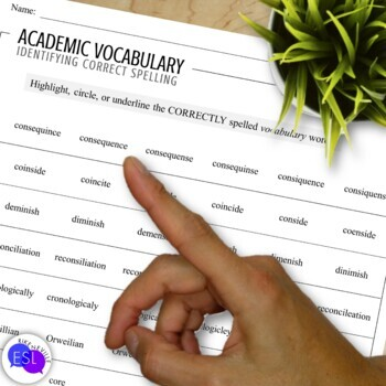 Academic Vocabulary 19 with Activities and Worksheets
