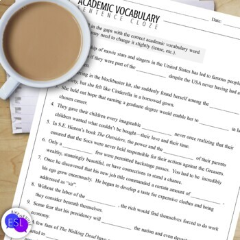 Academic Vocabulary 21 with Activities and Worksheets