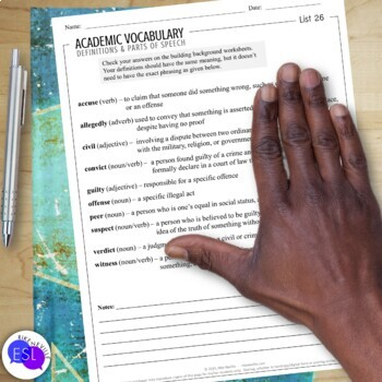 Academic Vocabulary 26 with Activities and Worksheets