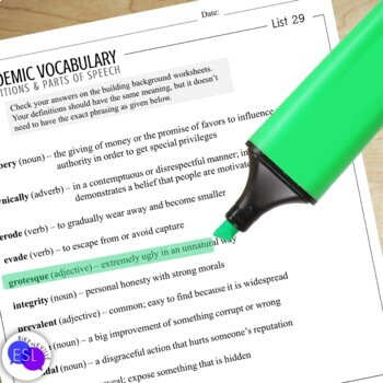 Academic Vocabulary 29 with Activities and Worksheets