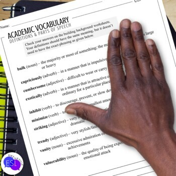 Academic Vocabulary 40 with Activities and Worksheets