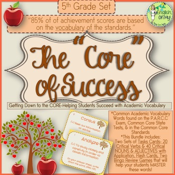 Academic Vocabulary-5th Grade-Task Cards, Flash Cards & Two Bingo Cards