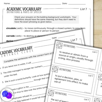 Academic Vocabulary 7 with Activities and Worksheets