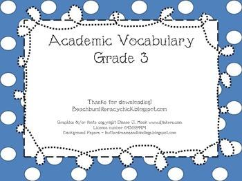 Academic Vocabulary Activities