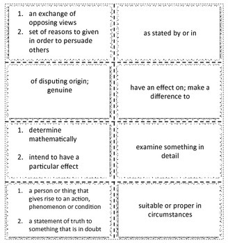 Academic Vocabulary BINGO Game