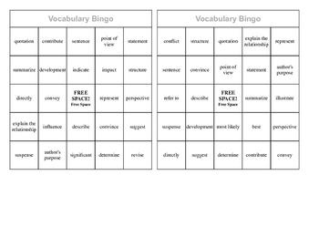 Academic Vocabulary Bingo Cards (ready to print, cut, and go!)