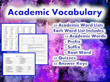Whole Year Academic Vocabulary: Word Lists, Quizzes and Answer Keys